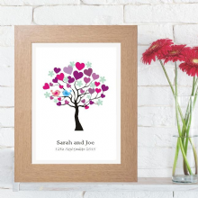Tree of Hearts Wedding Artwork - Personalised Romantic Gift